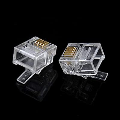 50 Pack RJ12 DSL Modular Plugs 6P6C Solid Telephone Phone Connector End Head