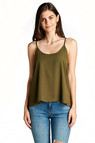 L/s Woven Top (Emmalise Women Sheer Blouse Top Double Scoop Woven Cami Shirt Tee - S. Olive, L)
