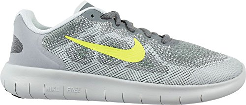 Girl's Nike Free RN 2017 (GS) Running Shoe (Grey/Green, 5) by NIKE