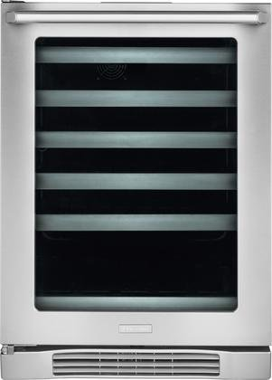 Electrolux EI24WL10QS 24'' Wine Cooler with One Self Closing Door Five Shelves Ninety Can Capacity Forty Six Bottle Capacity LED Controls and Interior Light in Stainless