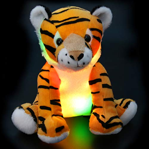 Athoinsu Glow Tiger LED Stuffed Animal with Magic Night Light Good for Camping Soft Plush Toy Gift for Kids at Christmas Birthday Children's Day, 11''