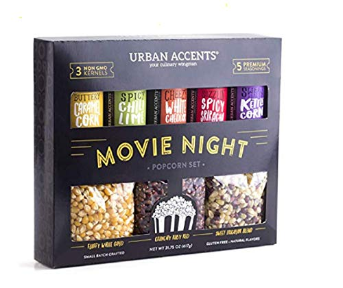 Urban Accents MOVIE NIGHT Popcorn Kernels and Popcorn Seasoning Variety Pack (set of 8) - 3 Non-GMO Popcorn Kernal Packs and 5 Gourmet Popcorn Snack Seasoning- Perfect Gift for any Occasion