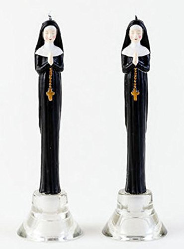 180 Degrees Praying Nun Wax Taper Candles (Set of 2) 10