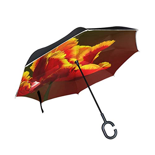 Double Layer Inverted Tulip Parrot Tulip Red Yellow Yellow-rand Blossom Umbrellas Reverse Folding Umbrella Windproof Uv Protection Big Straight Umbrella For Car Rain Outdoor With C-shaped Handle