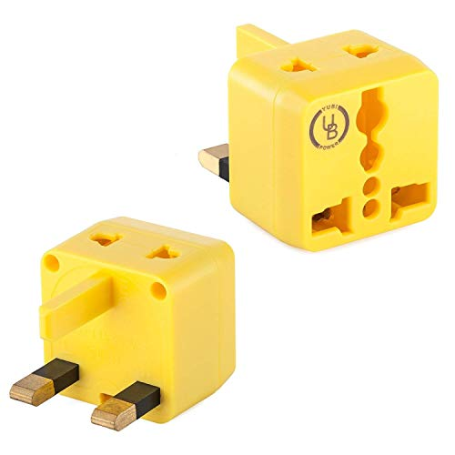 Yubi Power USA to UK Plug Adapter 2 in 1 Universal Travel Adapter with 2 Universal Outlets - Yellow 2 Pack - Type G for United Kingdom, England, Hong Kong, Ireland, Scotland, and More