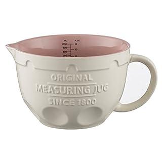 Mason Cash Innovative Kitchen Stoneware Measuring Jug, 1litre, White/Pink