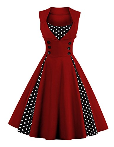 [Killreal Women's Vintage Polka Dot Print A-Line Sleeveless Cocktail Party Casual Dress Wine Red] (1950 Dress)