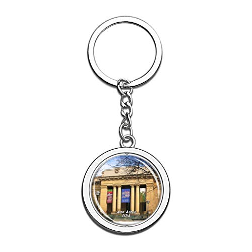 Halloween Stores Ann Arbor (Hqiyaols Keychain USA America University of Michigan Ann Arbor Souvenirs Crystal Spinning Round Stainless Steel Key Chain Ring Travel City Gifts)