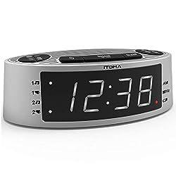 iTOMA Alarm Clock Radio Auto Time Set,FM Radio,Dual Alarm,Buzzer and Radio Ringtone,Perpetual Calender,USB Charging Port,Manual Dimmer, Snooze,Sleep Timer,Battery Backup(CKS301)