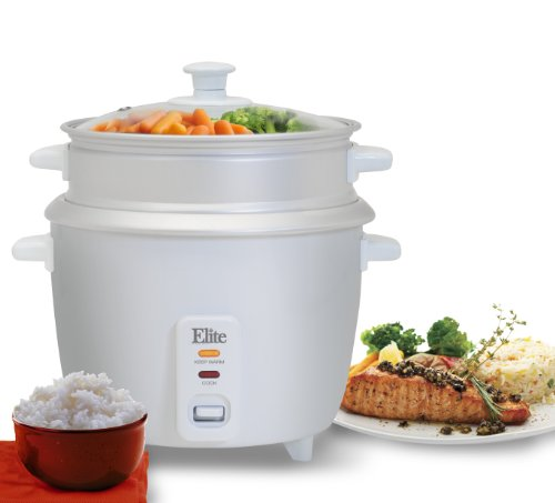 Elite Cuisine ERC-003ST Maxi-Matic 6 Cup Rice Cooker with Steam Tray, White