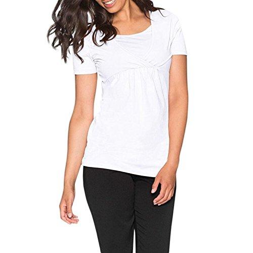 Price comparison product image MOONHOUSE 2018 New Spring Fashion Women Pregnants Nursing Wrap Top Cap Casual Shirt Short Sleeve Maternity Double Layer Top Plus Size Blouse (XL, White)