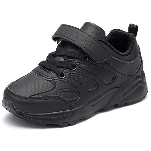BODATU Kids Boys Girls Running Shoes Comfortable Fashion Light Weight Black-7645, 10 Toddler (Childrens Running Shoes)