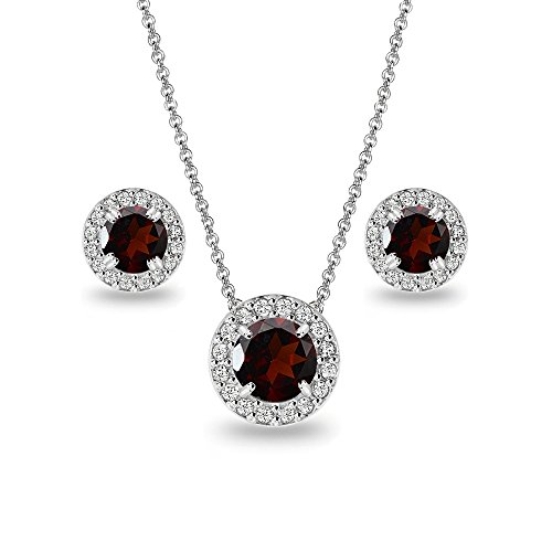 Sterling Silver Garnet and White Topaz Round Halo Necklace and Stud Earrings Set