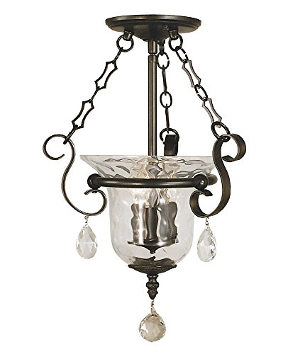 Framburg Bronze Pendant - Framburg 2914 MB Carcassonne 3-Light Semi-Flush with Clear Water Glass and Clear Crystal Accents, Mahogany Bronze
