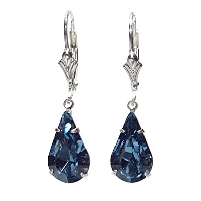 pewterhooter 925 Sterling Silver drop earrings expertly made with teardrop Montana Blue crystal from SWAROVSKI®. London Box YgPqgHRruK