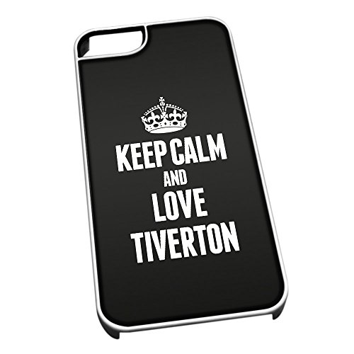 Bianco cover per iPhone 5/5S 0655nero Keep Calm and Love Tiverton
