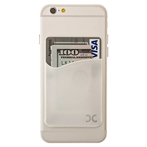 Card Holder By CardCadet - Fits All iPhone & Other Smartphone Devices - Made From Silicon - Holds Cards And Cash - White Silicone Mobile