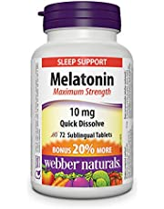 Webber Naturals Maximum Strength Melatonin 10 mg, Quick Dissolve, 72 Sublingual Tablets, For Sleep Support, Gluten Free, Non-GMO, Suitable for Vegetarians