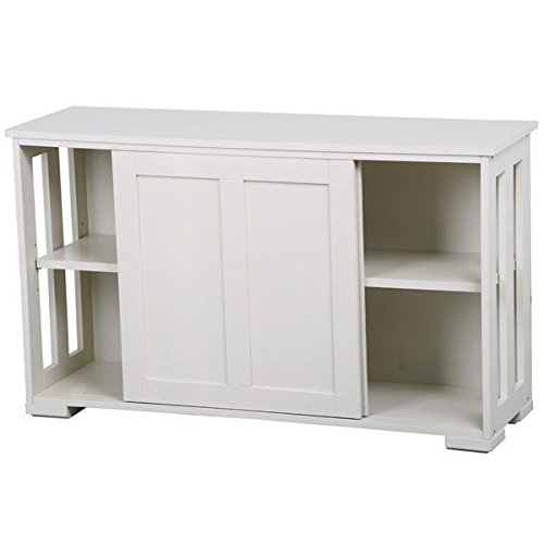 Yaheetech Antique White Sliding Door Buffet Sideboard Stackable Cabinets Kitchen Dining Room Storage (Side Cupboard)