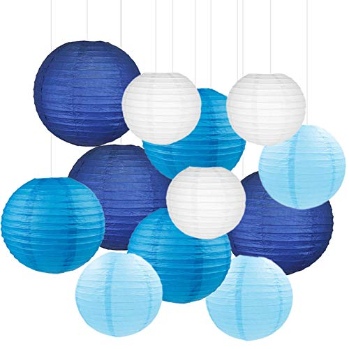 12PCS Paper Lanterns with Assorted Colors and Sizes