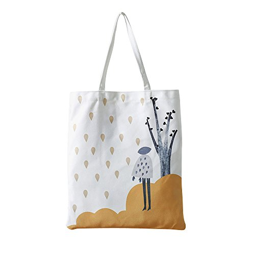 Flowertree Women's Under The Tree Canvas Tote Bag White (Standing) (Print Canvas Shopper)