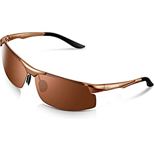 Torege Men's Sports Style Polarized Sunglasses For Cycling Running Fishing Driving Golf Unbreakable Al-Mg Metal Frame Glasses M291 (Light Brown)