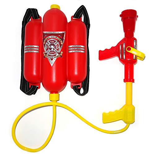 4E's Novelty Firefighter Backpack Double Tank - Fireman Backpack Water Gun Blaster -Large Super Water Squirt Suitable for Beach, Lake, Swimming Pool, Outdoor Activities for Kids ()