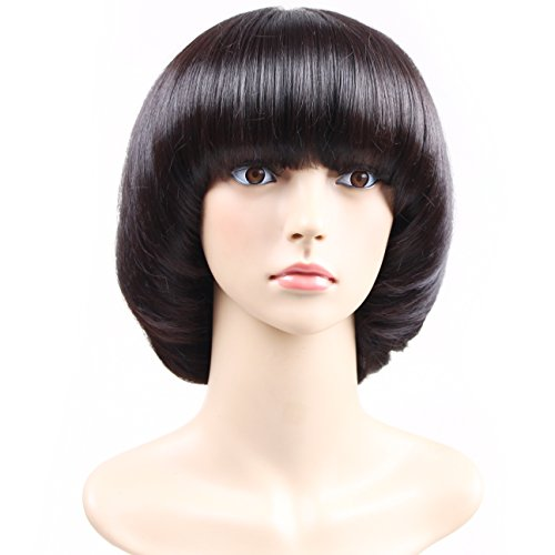 Price comparison product image Aoert Short Straight Wig With Bangs Bob Mushroom Synthetic Heat Resistant Black Wig for Black Women Hair Replacement Wig Cosplay Wig for Party 12""