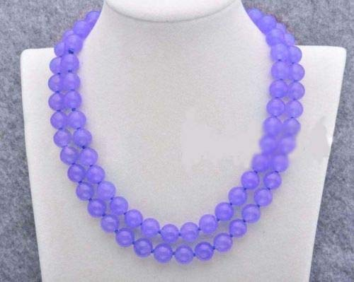 FidgetFidget Women's 8/10/12mm Natural Jade Gemstone Round Beads Long Necklace 36-50'' 12mm 36'' Lavender Jade