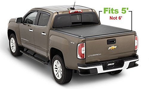 Chevrolet Colorado Rails Bed (Tonno Pro LR-1020 Lo-Roll Black Roll-Up Truck Bed Tonneau Cover 2004-2012 Chevrolet Colorado/GMC Canyon | Fits 5' Bed)