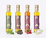 Thya Flavored Extra Virgin Olive Oil Variety Pack: Garlic, Chili Pepper, Truffle, Basil   First Cold Pressed Olives   EVOO Value Pack   4 Bottles of 8.45 Fl oz each   Total 33.8 Fl oz