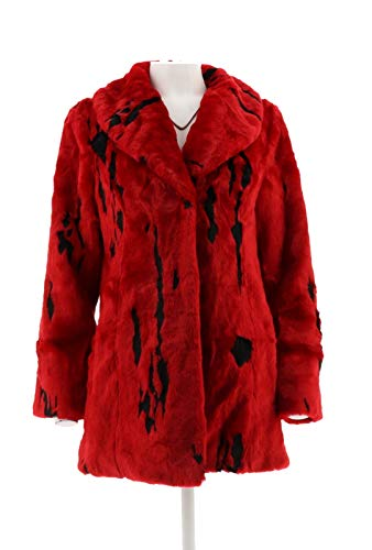 Dennis Basso Woven Minimal Lynx Faux Fur Coat Cardnl Red Blck XS New A285584 from Dennis Basso