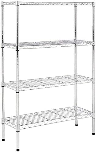 Amazon Basics 4-Shelf Adjustable, Heavy Duty Storage Shelving Unit (350 lbs loading capability consistent with shelf), Steel Organizer Wire Rack, Chrome (36L x 14W x 54H)