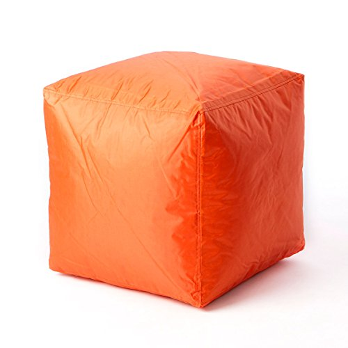 Bean Cube (Bean Bag Cube Ottoman Footstool (Orange) | | Nylon Fabric - Hand Filled in the USA | 16 x 16 x 16 inches |)