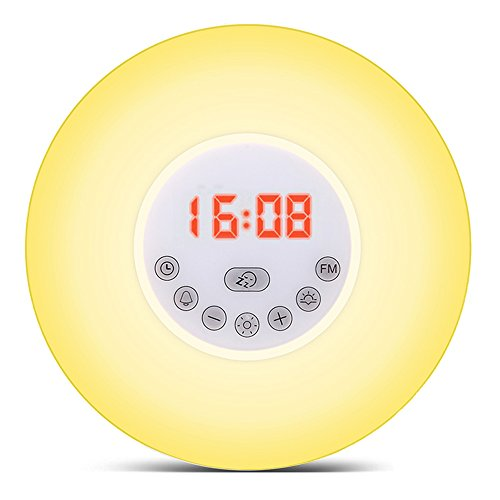 Etbotu Alarm Clock Light-Wake-Up Sunrise Simulation Alarm Clock Night Light with 7 Nature Sounds, 5 Light Colors, 10 Brightness Bedside Lamp FM Radio, Snooze Mode, Sunset - Express Sunrise Mall
