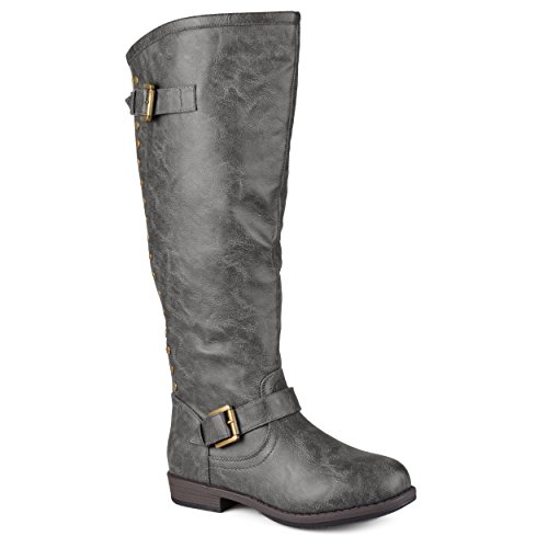 Journee Collection Womens Regular Sized and Wide-Calf Studded Knee-High Riding Boot Dark Grey 9 Wide Calf