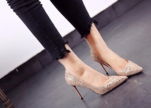 Shoes Heel Sequins Shoes Lady 36 Spring Thin Heels 9Cm Sharp Work Elegant MDRW Leisure Wedding Shallow Single Gold fqPwaw