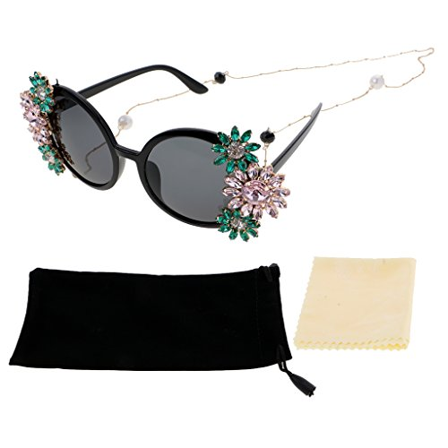 Jili Online Baroque Sunglasses Vintage Engraving Faux Crystal Flower Sunglasses with Pearl Chain - Online Store Sunglass