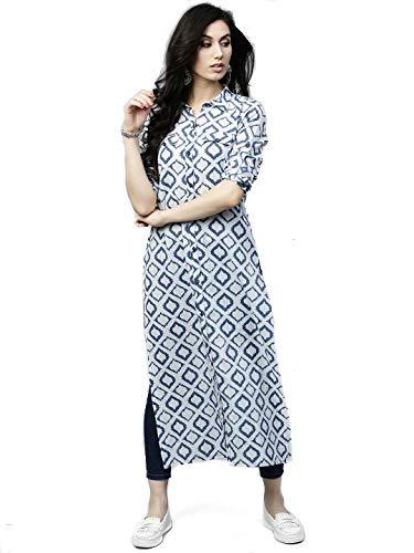 AnjuShree Choice Women Stitched Straight White Blue Printed Cotton Kurti