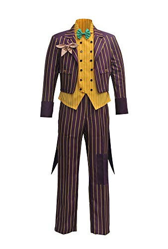 VOSTE Joker Costume Halloween Cosplay Party Outfit Arkham Asylum Suit for Men (XX-Large, Full Set) (The Joker Fancy Dress Costume Dark Knight)