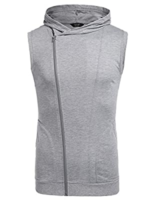 COOFANDY Men's Fashion Fitness Workout Sleeveless Hooded Bodybuilding Elasticity Muscle Vest