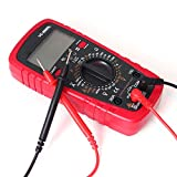 Digital Multimeter, Measures Voltage Tester, Current, Resistance, Continuity, Frequency; Tests Diodes, Transistors, Temperature, LCD Display with Back Light, Battery Include. (Red)
