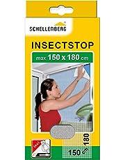Schellenberg 20403 Nylon Horrengaas, Muggen en Insectengaas Inclusief Bevestigingstape, Bevestiging Zonder te Boren, 150 x 180 cm, Wit