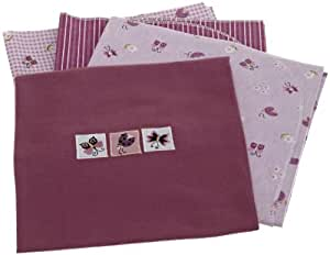 Lambs and Ivy Luv Bugs Flannel Blanket 4 Pack, Plum