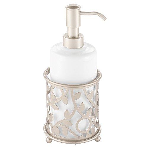 InterDesign Vine Ceramic Soap and Lotion Dispenser Pump, for Kitchen or Bathroom Countertop - (White Soap Dispenser For Kitchen)