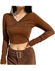 Vrouwen Y2k Shirt Lange Mouw Crop Top E Meisje Kleding Grafische Print T Shirts Patchwork Casual Tops Herfst Winter Blouses, H-bruin, XL