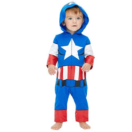 Marvel Avengers Captain America Boys' Zip-Up Hooded Costume Coverall
