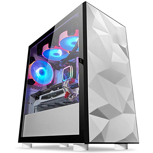 ZXCVBNAS Computer Case ATX Mid Tower PC Gaming Case - Front USB Port - Quick-Release Tempered Glass Side Panel - Cable Management System - Water-Cooling Ready - White