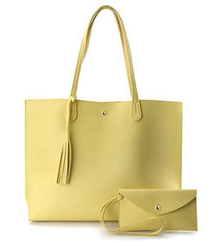 (Minimalist Clean Cut Pebbled Faux Leather Tote Womens Shoulder Handbag (Yellow) )