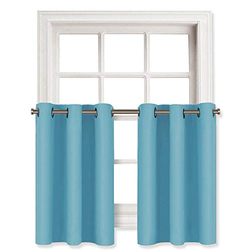NICETOWN Thermal Insulated Blackout Window Valances - Energy Efficient Home Decor Grommet Top Tier Curtains for Bedroom (42 by 36 + 1.2 Inches Header, Teal Blue, 2 Packs)